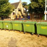 Wheelie Bins Lined in Field
